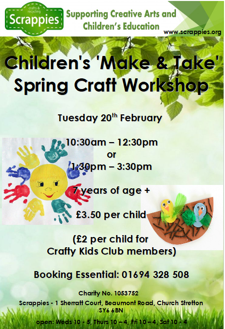 Children S Spring Craft Workshop Poster 2018 Snipped Scrappies